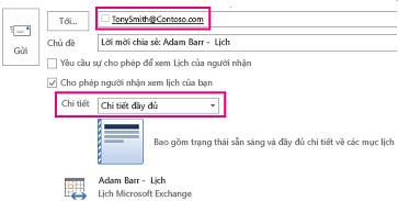 Lời mời chia sẻ email hộp thư với bên ngoài - Hộp Tới và thiết đặt Chi tiết
