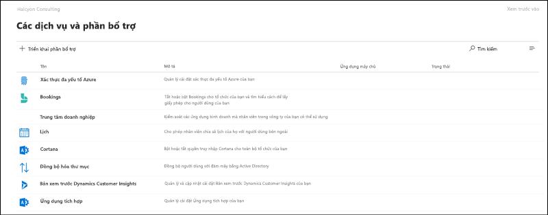 Ảnh chụp màn hình: thiết đặt và bổ trợ trang trong bản xem trước Trung tâm quản trị Microsoft 365.