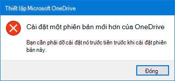 Cửa sổ bật lên OneDrive lỗi