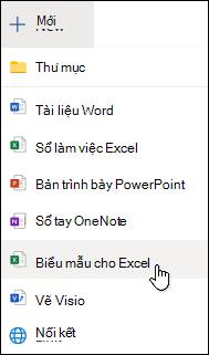Tùy chọn chèn biểu mẫu cho Excel trong Excel cho web