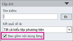 Hộp kiểm Bao gồm nội dung của Bing