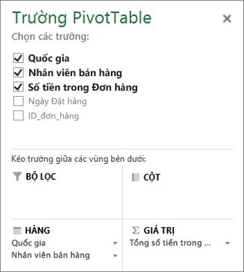 Danh sách Trường PivotTable