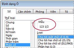 Hộp mẫu được chọn trong hộp thoại Định dạng Ô