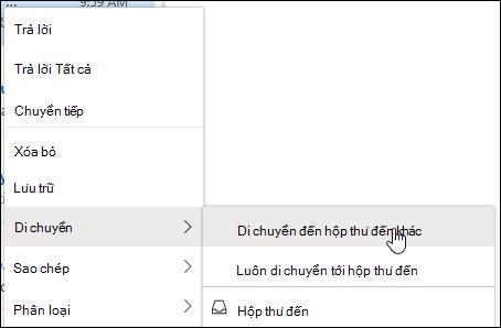 Ảnh chụp màn hình hiển thị menu bấm chuột phải với các tùy chọn để di chuyển đến hộp thư đến khác và luôn di chuyển đến hộp thư đến khác.