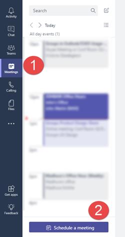 """Trên tab cuộc họp bấm """"lên lịch cuộc họp"""" để thêm một cuộc họp vào lịch của bạn"""