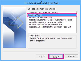 Trình hướng dẫn xuất của Outlook - Xuất ra tệp