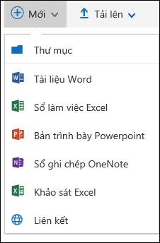 Office 365 tạo một tài liệu hoặc thư mục mới