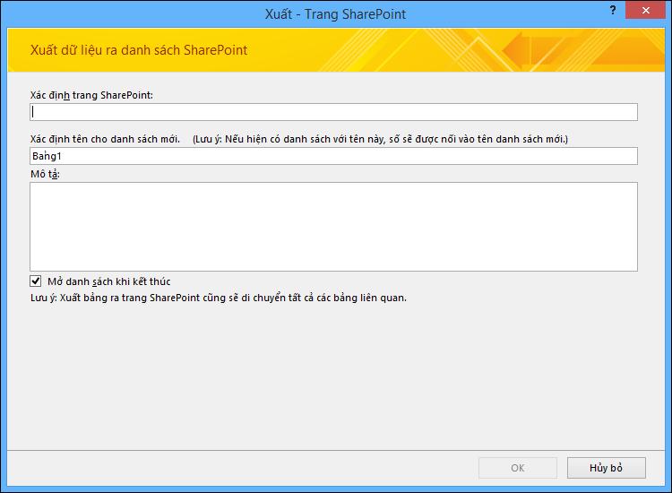 Chỉ định site SharePoint để xuất bảng hoặc truy vấn Access của bạn.