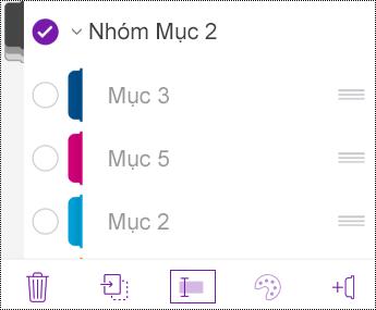 Đổi tên nhóm mục trong OneNote for iOS