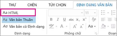 Tùy chọn định dạng HTML trên tab Định dạng văn bản trong thư