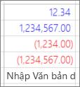 Hiển thị cách các giá trị được nhập vào bằng cách dùng ví dụ đã xác định dạng số tùy chỉnh kết xuất trong một cột trong bảng tính Excel.