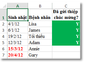 Định dạng điều kiện mẫu trong Excel