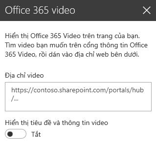 Ảnh chụp màn hình hộp thoại địa chỉ video Office 365 trong SharePoint.