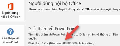 Số phiên bản và bản dựng cạnh nút Giới thiệu về PowerPoint_C3_20171111104233