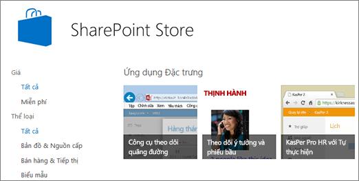 Dạng xem của lựa chọn ứng dụng SharePoint Store