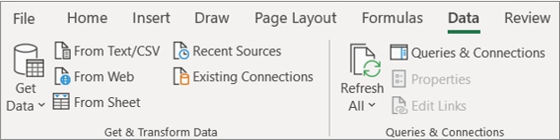 Ribbon của Excel 2016 Power query