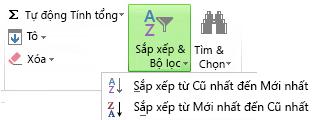 Nút Sắp xếp & Lọc trên tab Trang đầu