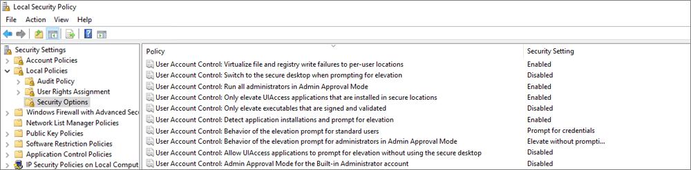 Cửa sổ chính sách bảo mật cục bộ, với các tùy chọn bảo mật Hiển thị các thiết đặt OneDrive đã sửa