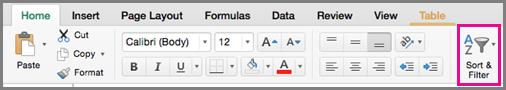 Lệnh Bộ lọc Sắp xếp trong Excel cho Mac