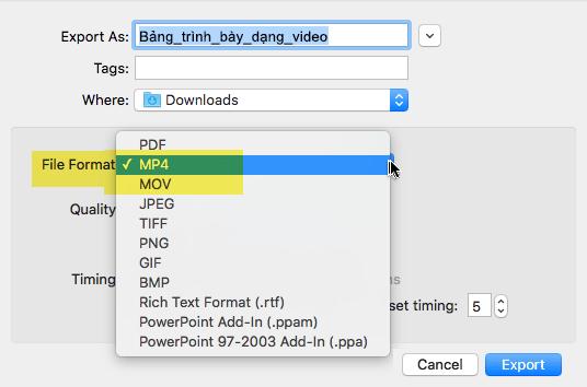 Người đăng ký Office 365 có thể xuất một bản trình bày đến video dưới dạng tệp MP4 hoặc MOV