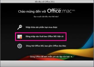 Trang chủ cài đặt Office cho Mac, nơi bạn đăng nhập vào thuê bao Office 365 hiện có.