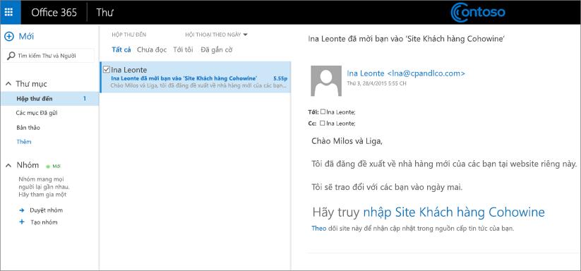 Email mẫu mời khách hàng truy nhập vào site con dành cho khách hàng.