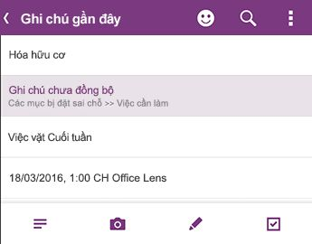 Danh sách ghi chú gần đây trong OneNote for Android