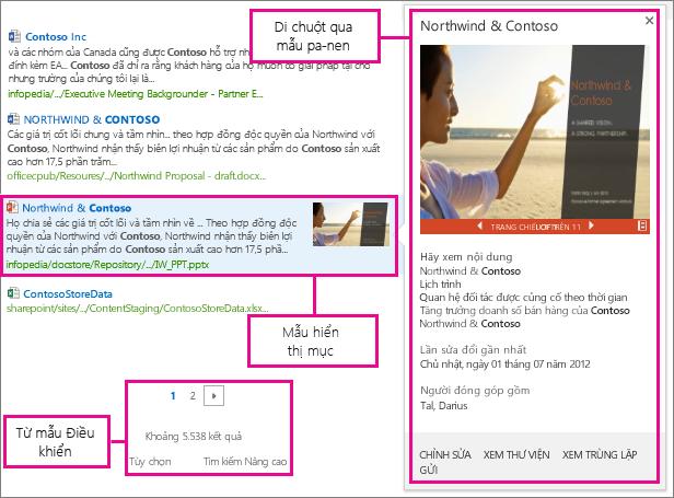 Các loại mẫu hiển thị cho kết quả tìm kiếm