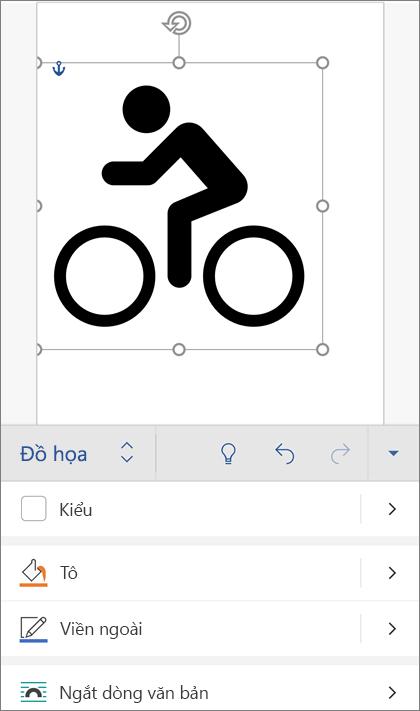 Ảnh SVG được chọn, Hiển thị tab đồ họa trên dải băng