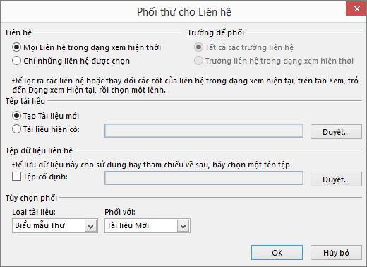 Bấm vào Phối Thư trên tab Trang đầu của thư mục Danh bạ để bắt đầu phối thư