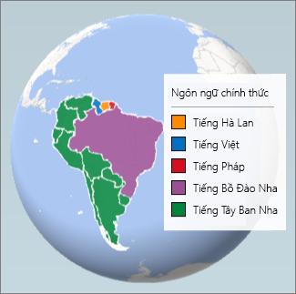Biểu đồ Vùng cho biết những ngôn ngữ được nói ở Nam Mĩ