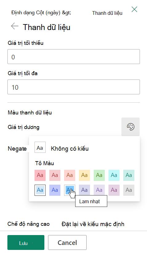 Tùy chọn chỉnh sửa mẫu cho các thanh dữ liệu cho định dạng cột SharePoint