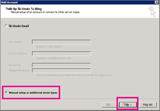 Sử dụng thiết lập thủ công trong Outlook 2013