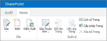 Ribbon SharePoint 2013 trong góc trên bên trái của màn hình