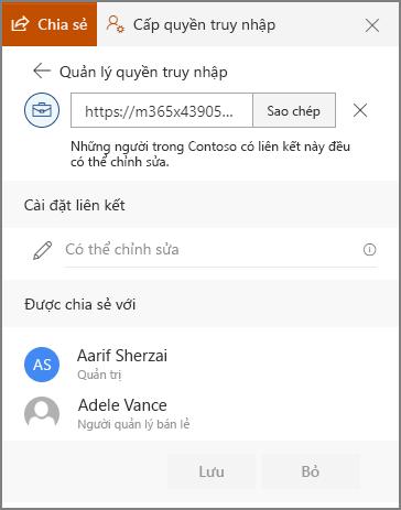 Ảnh chụp màn hình các thuộc tính nối kết Hiển thị người dùng đã được gửi nối kết.
