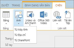 Ảnh chụp màn hình dải băng SharePoint Online. Chọn tab Chèn, rồi chọn Ảnh để chọn có tải lên một tệp từ máy tính của bạn, địa chỉ web hoặc vị trí SharePoint hay không.