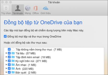 Đồng bộ thư mục hộp thoại dành cho OneDrive for Mac