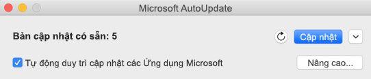 Cửa sổ Microsoft AutoUpdate khi các bản cập nhật sẵn dùng.