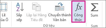 Nút công thức dành cho công cụ bảng