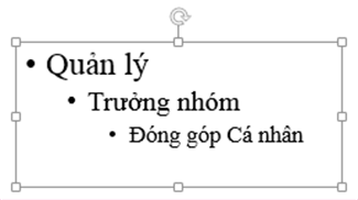 Nhấn Tab để thụt lề một dấu đầu dòng con