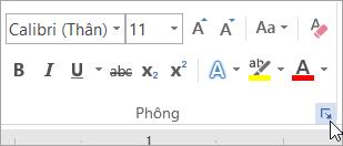 Bấm vào Công cụ khởi động hộp thoại phông chữ