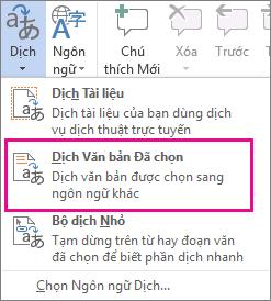 Dịch Văn bản đã Chọn