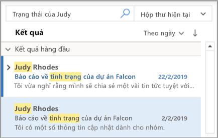 Hiển thị Outlook tìm kiếm của bạn