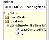 Chọn danh sách trường dữ liệu