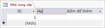 Màn hình đoạn mã của trường để thêm một tên mô tả cho một cột