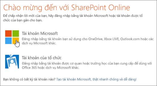 Một ảnh chụp màn hình hiển thị SharePoint Online màn hình đăng nhập.