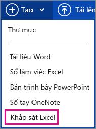 Tạo khảo sát Excel