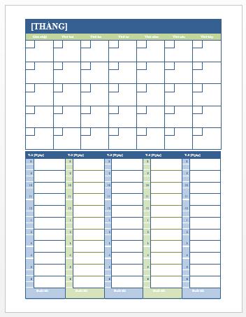 Lịch Kế hoạch Hàng tháng và Hàng tuần (Word)