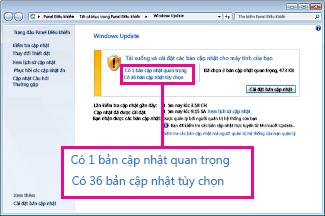 Các nối kết trong ngăn Windows Update