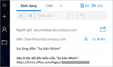 Gửi liên kết cho biểu mẫu của bạn trong email
